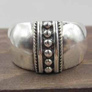 Size 9 Sterling Silver Dotted Line Band Ring